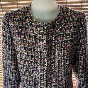 Ann Taylor Fringe Tweed Peplum Jacket - Pink Multi